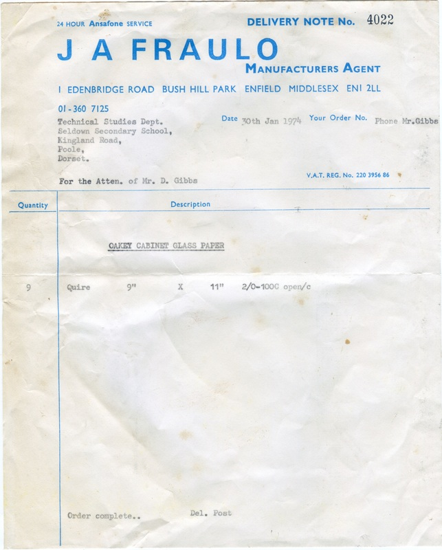 Seldown School Receipt